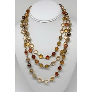 Premier Designs Long Crystal & Pearl Necklace